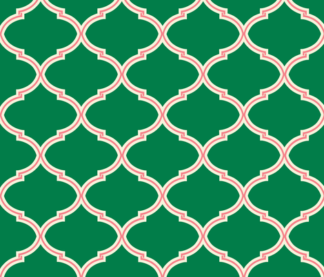 Lily Trellis in Green and Pink fabric by willowlanetextiles on Spoonflower - custom fabric