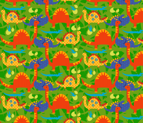 Dinosaur Stampede fabric by kwikdrw on Spoonflower - custom fabric