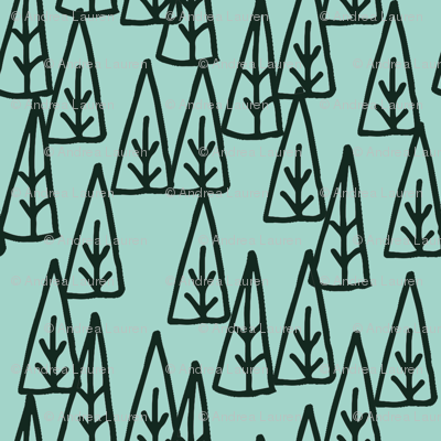 Holiday Trees - Pale Turquoise/Rifle Green