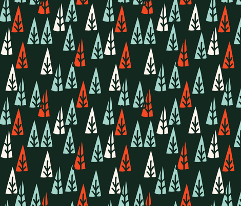Holiday Trees - Rifle Green/Pale Turquoise/Vermillion/Champagne fabric by andrea_lauren on Spoonflower - custom fabric