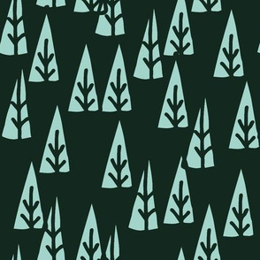 Holiday Trees - Rifle Green/Pale Turquoise Sketch
