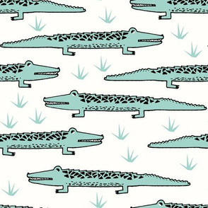 A Congregation of Alligators - Pale Turquoise by Andrea Lauren