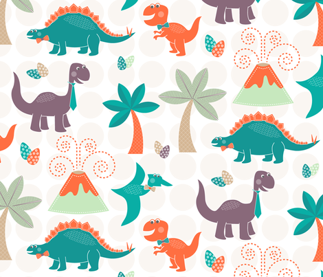 Dinos In Bowties fabric by happyprintsshop on Spoonflower - custom fabric