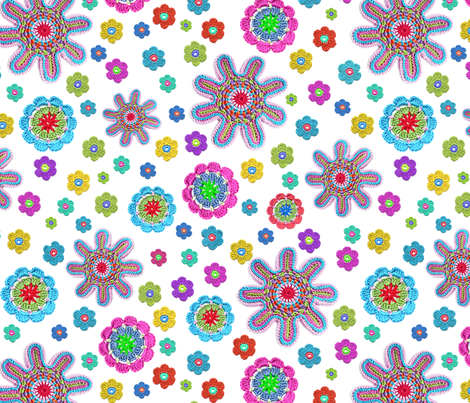 crochet-flowers fabric by musterartig on Spoonflower - custom fabric