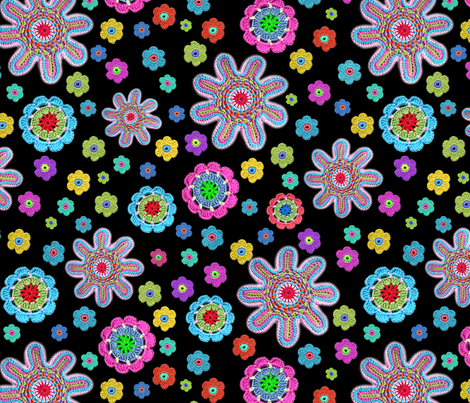 crochet-flowers-2 fabric by musterartig on Spoonflower - custom fabric
