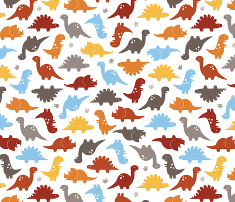 Dino Cuteness fabric by jenimp on Spoonflower - custom fabric