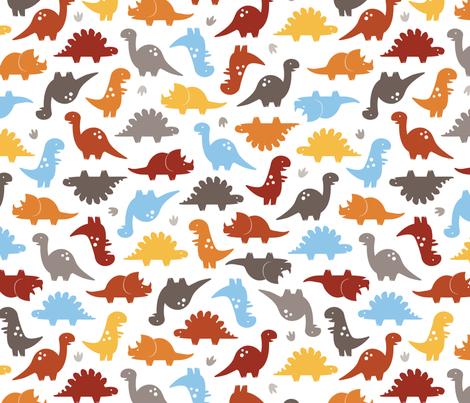Dino Cuteness fabric by jenimp on Spoonflower - custom fabric
