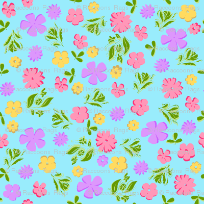 Aqua floral ditsy