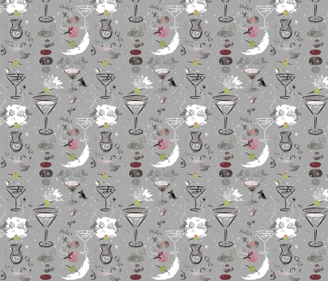 Martinis_Gin_Vodka_Cheers_darker fabric by sandie_tee on Spoonflower - custom fabric