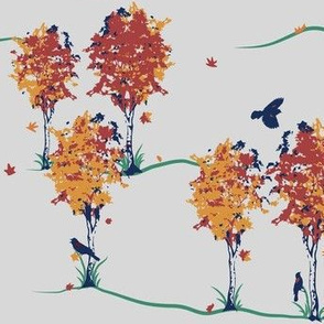 Autumnal Scene with Red-winged Blackbirds