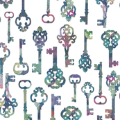 Antique Skeleton Key Silhouettes on White