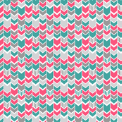 Teal Gray Pink Chevron half scale