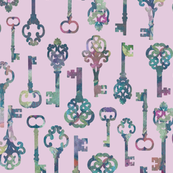 Skeleton Key Silhouettes on Lavender