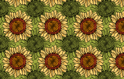 Sunflower goes Retro fabric by woodledoo on Spoonflower - custom fabric