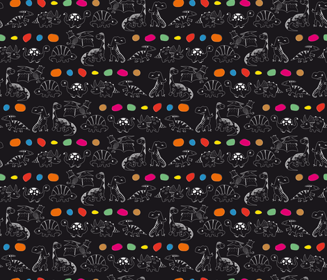 DINOS PARADE (Black) fabric by vannina on Spoonflower - custom fabric