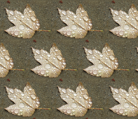 Maple Leaf with Raindrops - half-brick fabric by mina on Spoonflower - custom fabric