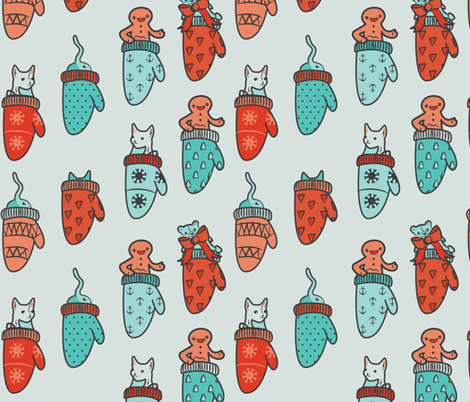 meow-y christmas fabric by annaboo on Spoonflower - custom fabric