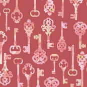 pink skeleton key silhouettes