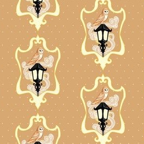Barn Owl on Foggy Lamp Post