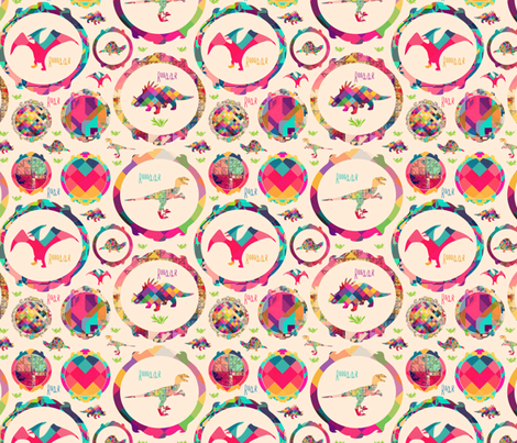 Roar at the Dinosaur fabric by creativeqube_design on Spoonflower - custom fabric