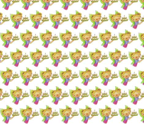 Happy Birthday Fairy With Cake fabric by mariannemathiasen on Spoonflower - custom fabric