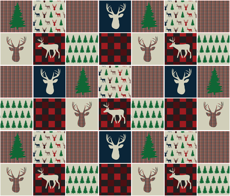 Woodsy Christmas Quilting Squares fabric by palmrowprints on Spoonflower - custom fabric