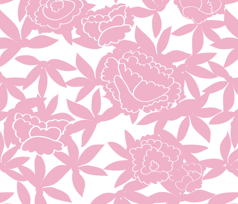 Zen_Floral-pink white fabric by fable_design on Spoonflower - custom fabric