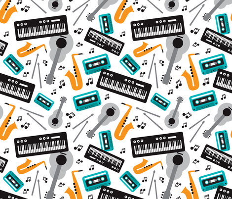 Music love musical instruments jazz party for kids and music lovers fabric by littlesmilemakers on Spoonflower - custom fabric