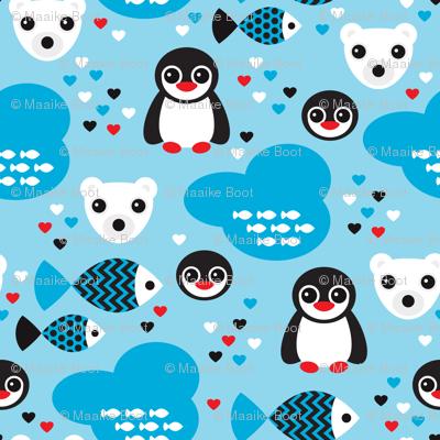 Penguins and polar bears arctic winter wonderland