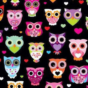 Retro colorful owls