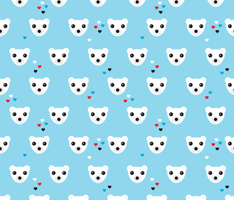 Polar bear winter love fabric by littlesmilemakers on Spoonflower - custom fabric