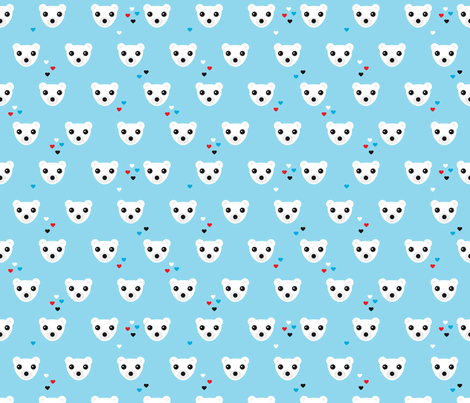Polar bear winter love actic bears theme for kids fabric by littlesmilemakers on Spoonflower - custom fabric