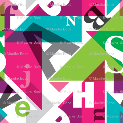 Colorful typography alphabet