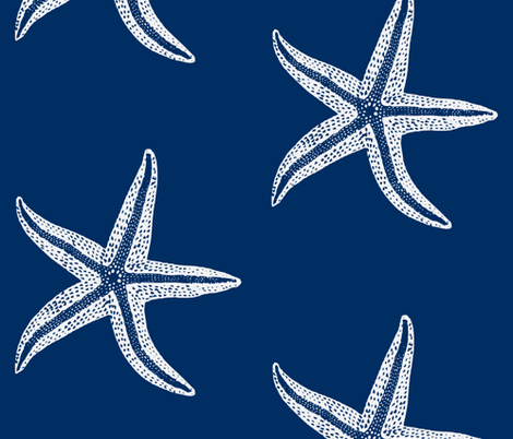 I wish upon a Starfish Blue Inverse fabric by lisakling on Spoonflower - custom fabric