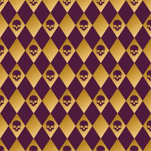 Purple and gold harlequin skull