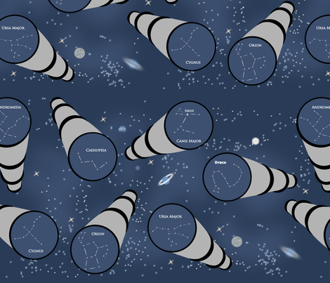 Telescopic constellations  fabric by blondfish on Spoonflower - custom fabric