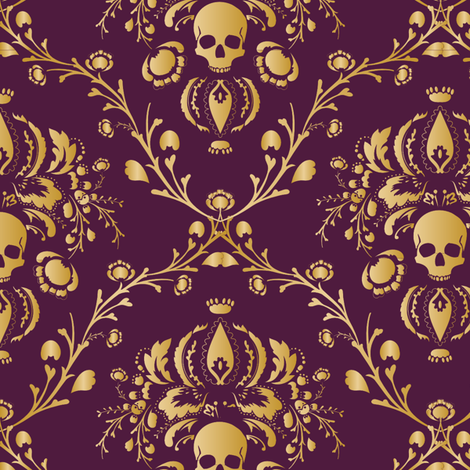 Purple and Gold Damask Non-distressed fabric by elizabeth on Spoonflower - custom fabric