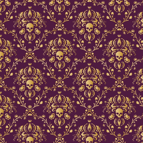 Purple and Gold Damask distressed
