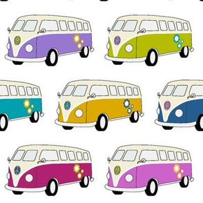 Campervans Jewel colours on White - Medium