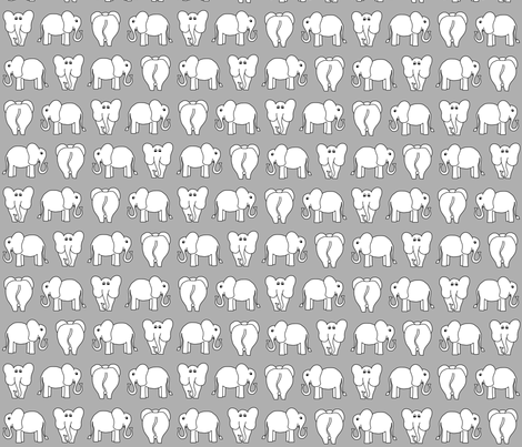 ELEPHANT PATTERN grey fabric by biancagreen on Spoonflower - custom fabric