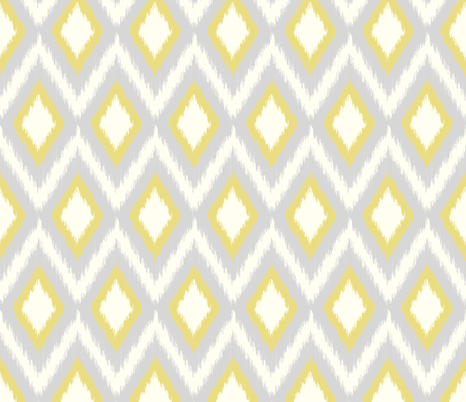 Gray and Yellow Tribal Ikat Chevron