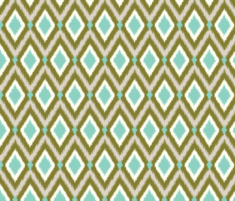 Aqua and Olive Tribal Ikat Chevron