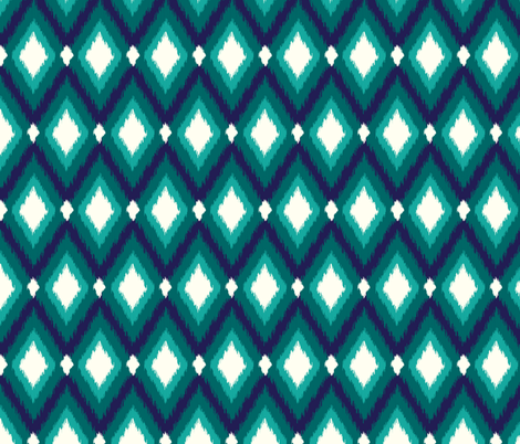 Navy and Teal Tribal Ikat Chevron