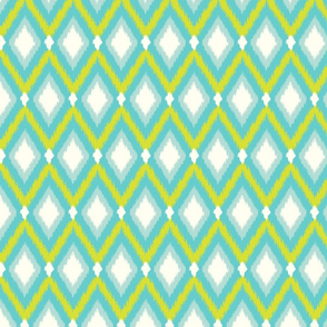 Turquoise and Lime Tribal Ikat Chevron