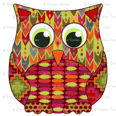 christmas holly geo owl 8""