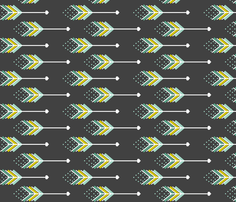 Love Arrows Grey Blues fabric by natitys on Spoonflower - custom fabric
