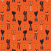 Halloween Retro Cats Orange