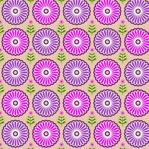 Elegant retro flowers in pink and purple