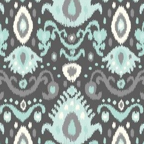 Gray and Aqua Ikat