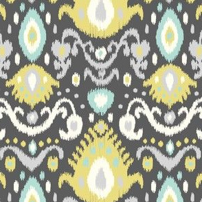 Yellow and Aqua Ikat